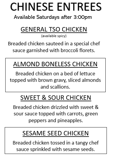 Almond Boneless, General Tso, Sesame and  Sweet & Sour Chicken